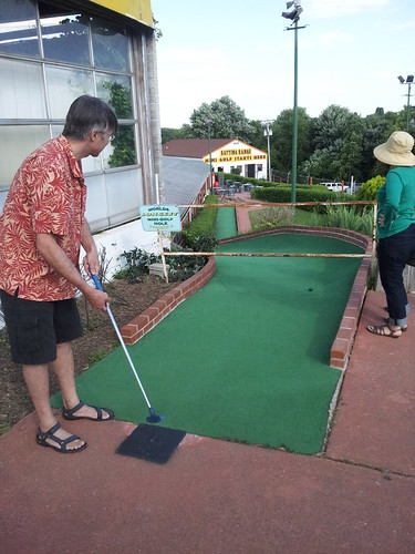 Rudi Tees off at the World's Longest Mini Golf Hole
