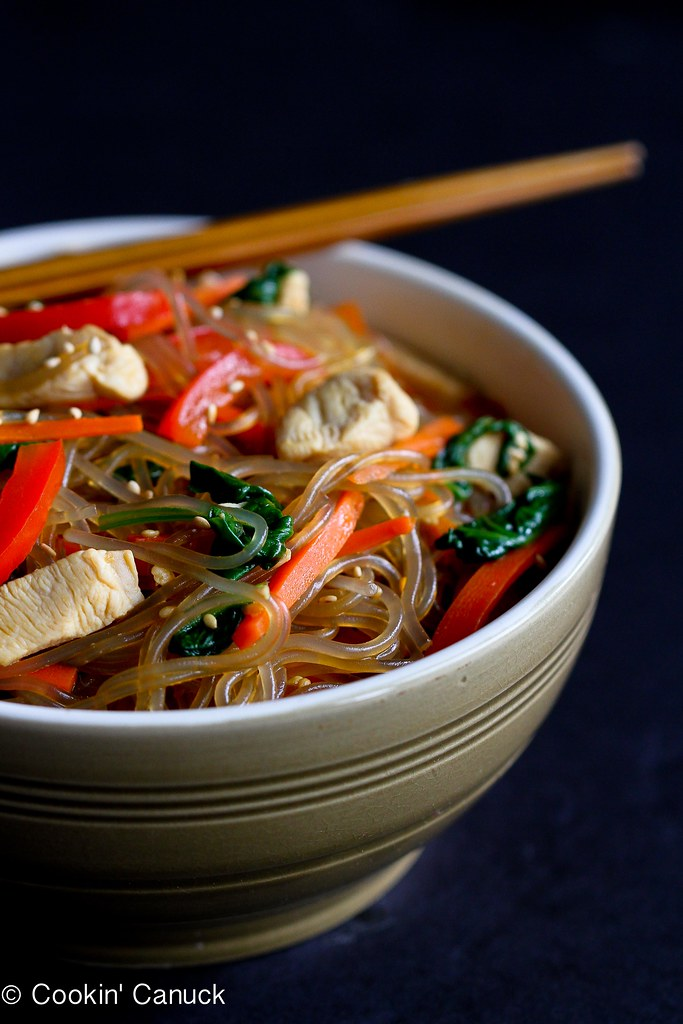 Asian Sweet Potato Noodles Recipe with Chicken & Vegetables | cookincanuck.com