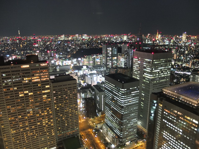 Night view from the top of the Metropolitan Government Building, Tokyo, Japan.