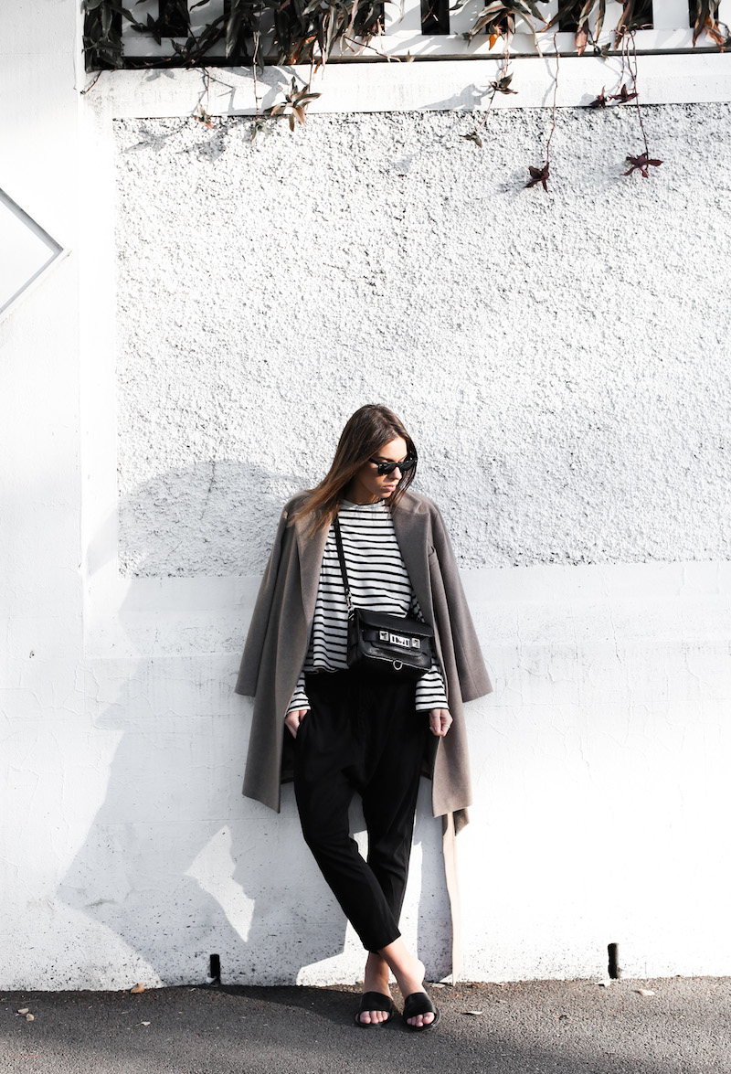 modern legacy fashion blog street style Bassike breton stripe slouch pant Zara camel coat Common Projects leather pool slide sandals Proenza Schouler PS11 Mini Classic bag off duty hair inspo (4 of 13)