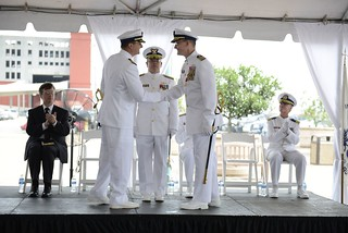 Capt. Philip Schifflin relieved Capt. Peter Gautier as commander of Coast Guard Sector New Orleans in an official change-of-command ceremony at the Port of New Orleans, June 27, 2014. The change-of-command ceremony is a time-honored tradition and deeply rooted in Coast Guard and Naval history. The event signifies a total transfer of responsibility, authority and accountability for the command. (U.S. Coast Guard photo by Petty Officer 3rd Class Carlos Vega)