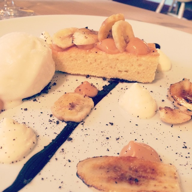 Broken Banoffee Pie dessert with banana chips. The Anchor, Sutton, Cambs.