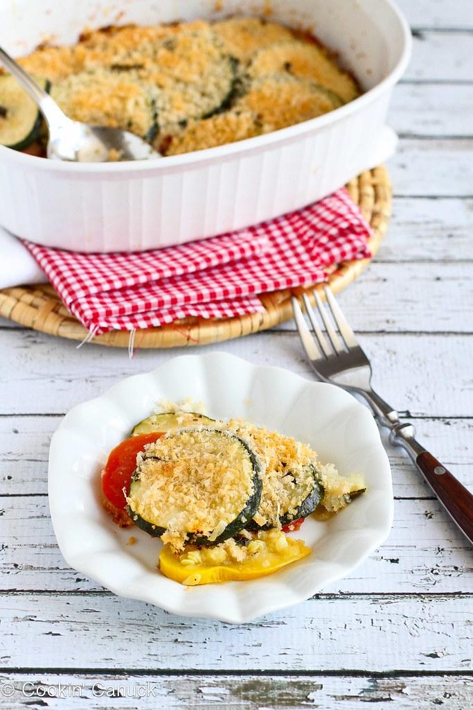 Healthy Zucchini, Tomato and Yellow Squash Gratin Recipe   cookincanuck.com #vegetarian #MeatlessMonday