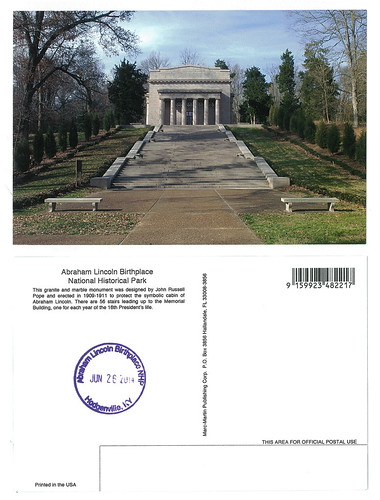 Lincoln Birthplace Postcard and Stamp