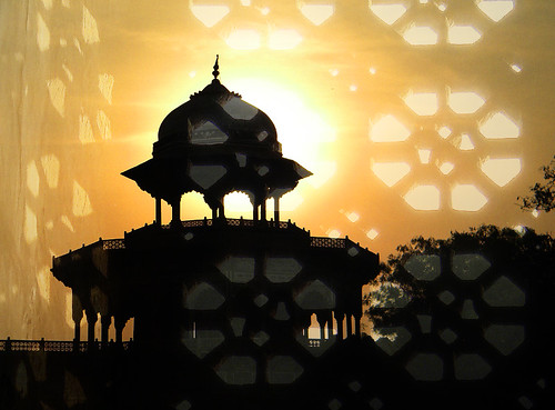 Taj Majal silhouette with pierced window 'soft light' overlay