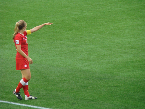 teambates posted a photo:	Defender Kinley McNicoll prepares for a free-kick.