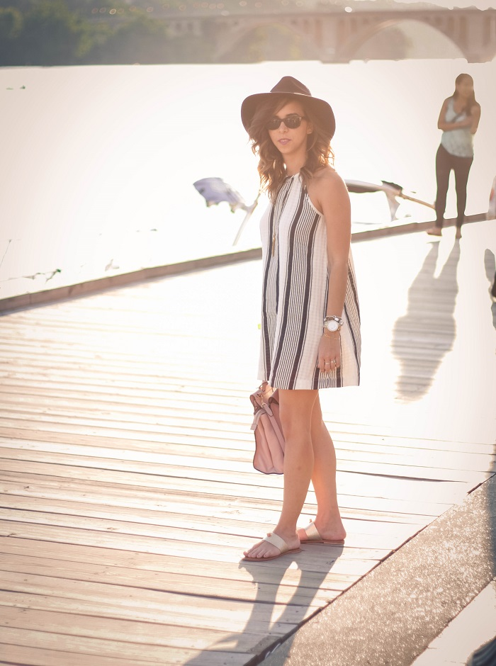 va darling. dc blogger. virginia personal style blogger. swing dress. georgetown waterfront. felt fedora hat. joie sandals. summer style 1
