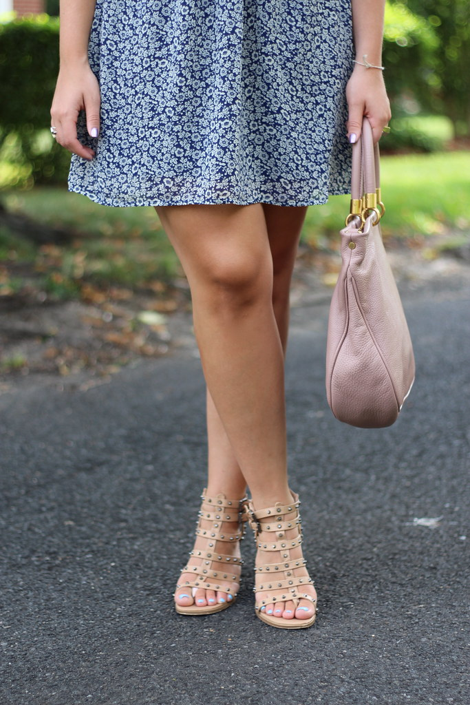 Blue Floral Dress | Studded Nude Sandals | Outfit | #LivingAfterMidnite