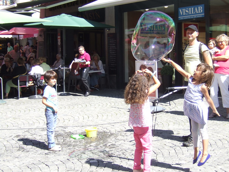 Bubbles Lift You Up Place de la Palud Lausanne Switzerland