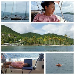 Shots from our sailboat trip from #StLucia to #Martinique on the SS Valeo (center of top left). #HoneymoonApproved