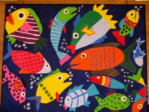 4th Grade Art Auction Project: Mrs. Z's Class Fish