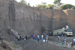 A sand quarry Rhonda, Nakuru County, Kenya. Many of Kenya's youth engaged in the industry, despite the deadly risks posed by collapsing mining walls due to poor sand harvesting methods. Credit: Robert Kibet/IPS