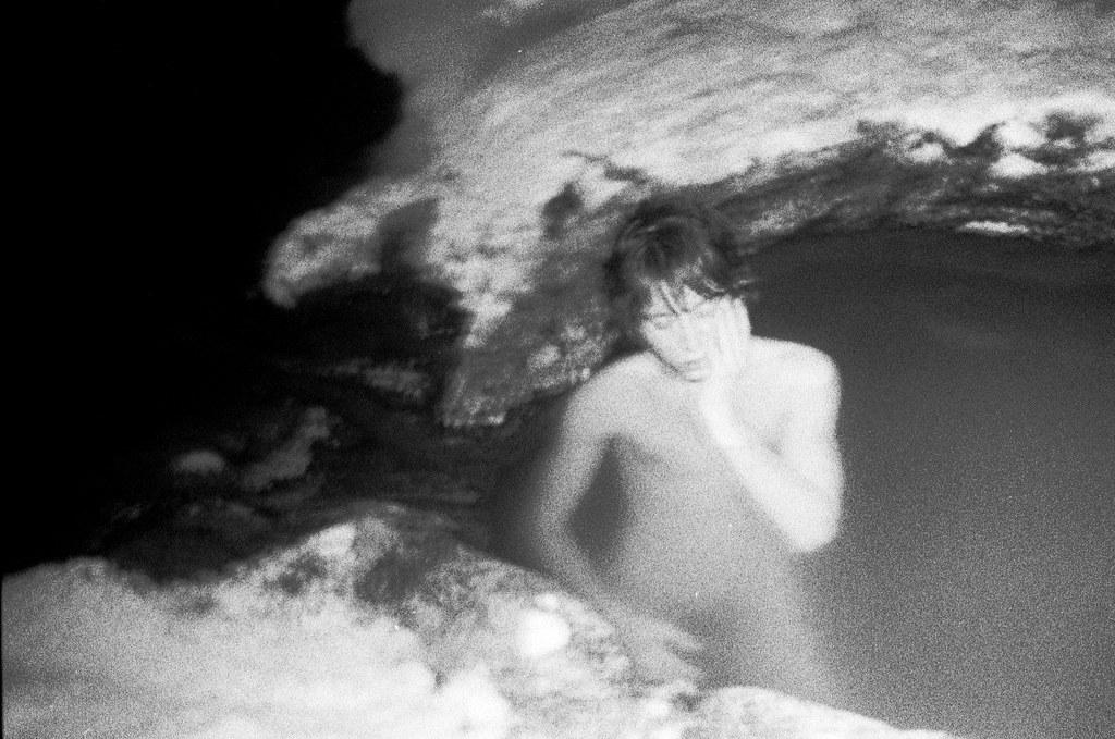 night bath in the rocks