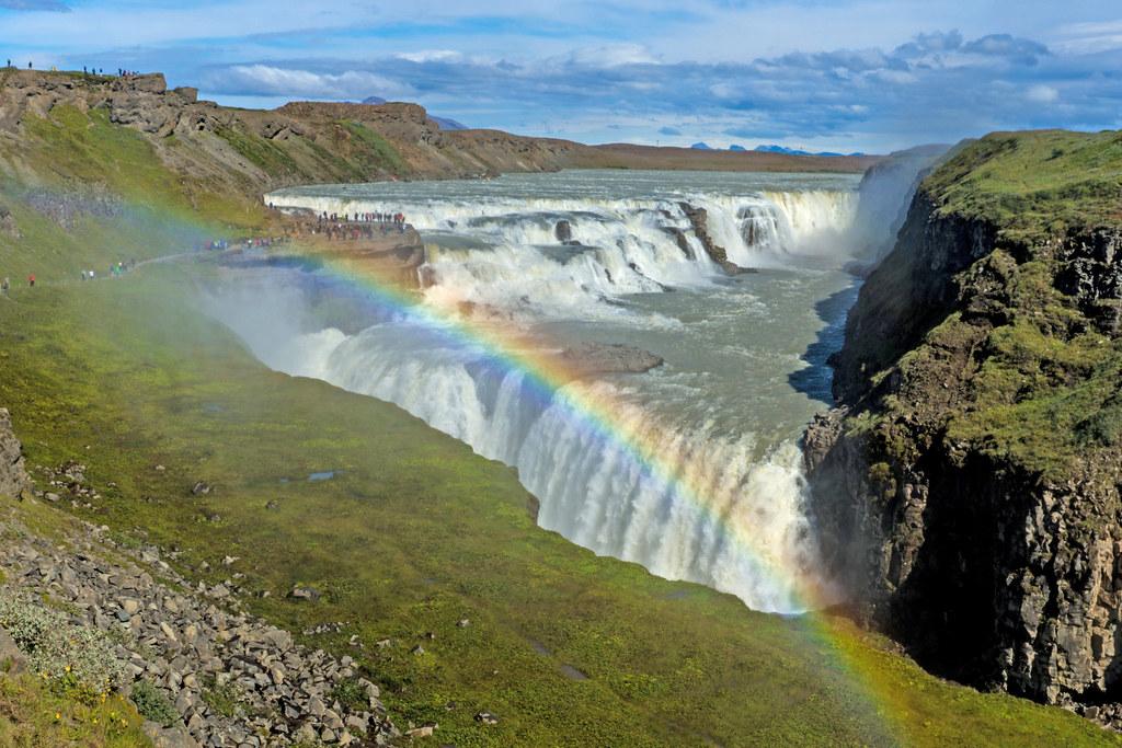 Gullfoss With Rainbow