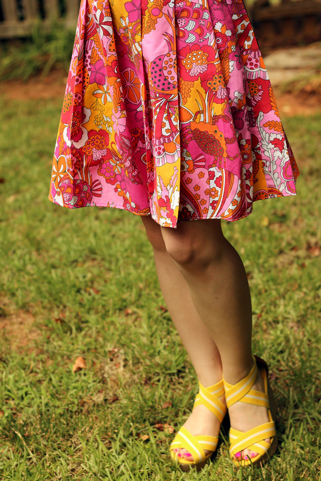 Tropical Sea Print Pleated Skirt and Yellow Wedge Sandals