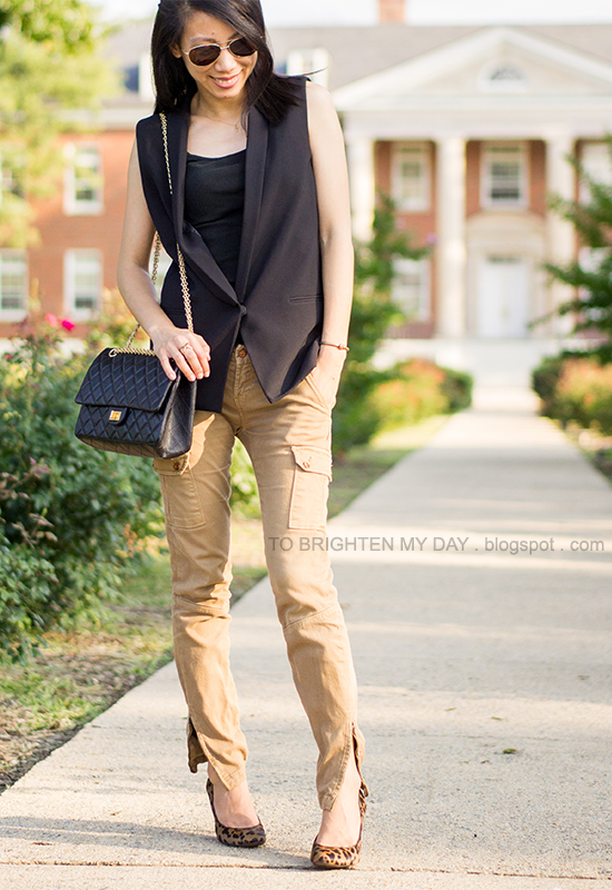 sleeveless blazer/vest, cargo pants, leopard pumps