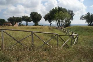 Imagen de Necropoli dei Monterozzi. italy grass fence geotagged italia viterbo lazio tarquinia latium necropolisofmonterozzi necropolideimonterozzi geo:lat=42248715 geo:lon=11771938
