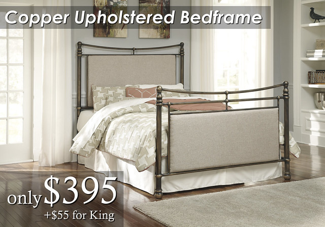 B280-381 Copper Upholstered Metal Bedframe Qn $395 KG $450
