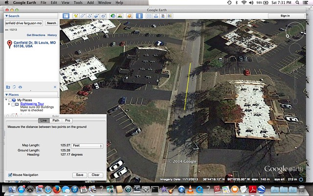 google maps distance estimate 125 feet.