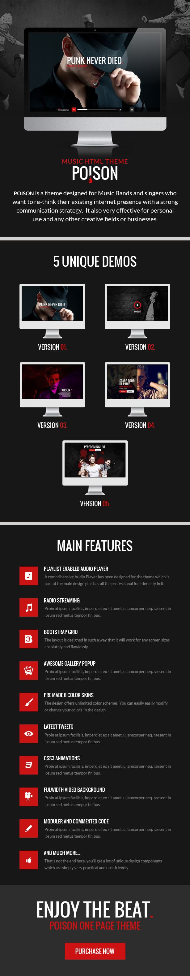 Poison - Music HTML One Page Template by xvelopers | ThemeForest
