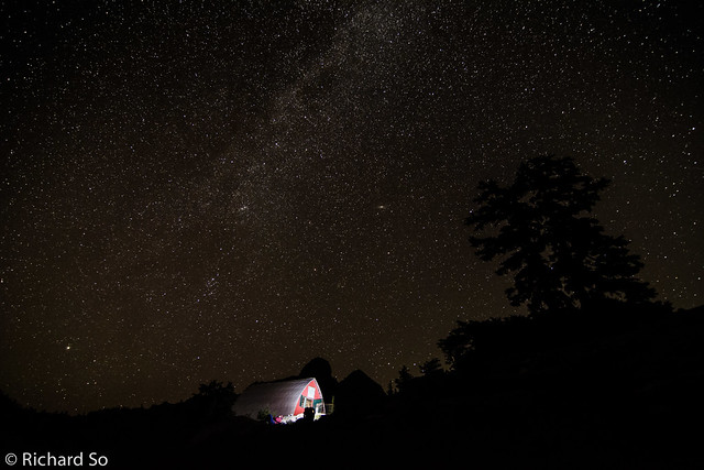 Starry skies and the Milky Way over the Mountain Lake Hut