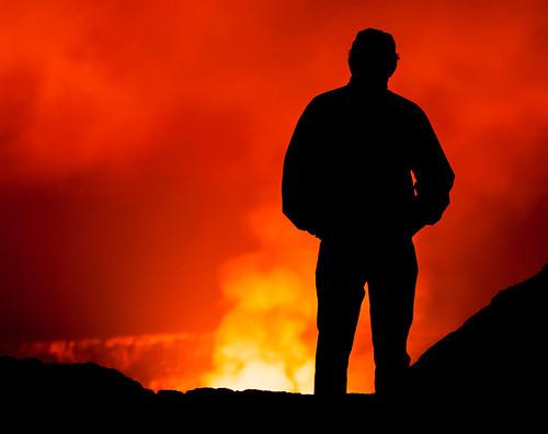 red orange man silhouette night person volcano hawaii smoke hi hawaiivolcanoesnationalpark kilauea halemaumaucrater