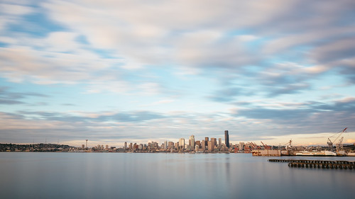 seattle city longexposure sunset sky motion water clouds washington downtown cityscape cloudy pacificnorthwest pugetsound canonef2470mmf28lusm elliotbay bwnd1000x canoneos5dmarkiii