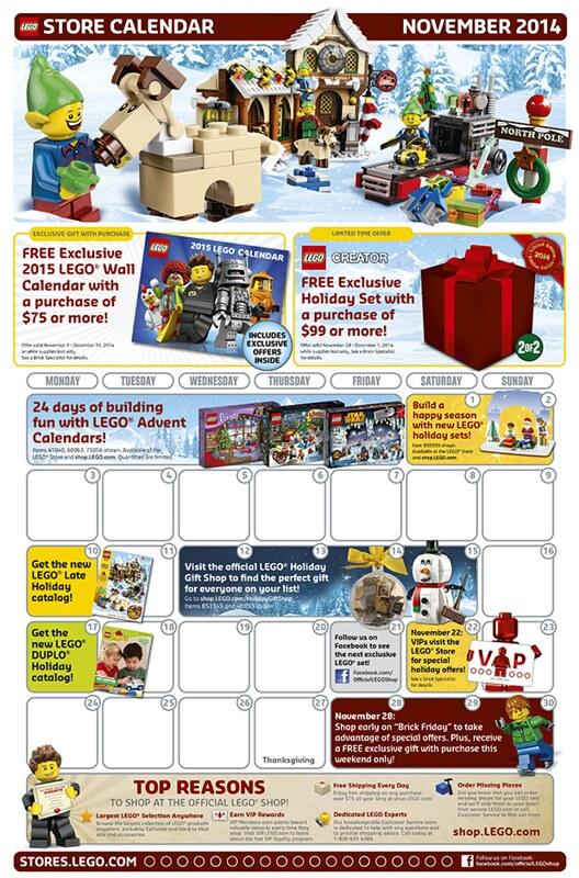LEGO Shop November 2014 Calendar