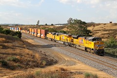 UP8789 8191 4147 west bound Stack Train Beaumont 12 08 2014