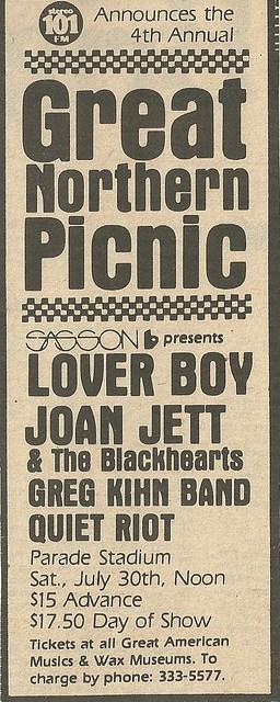 07/30/83 Great Northern Picnic 1983 @ Parade Stadium, St. Paul, MN (ad 2)