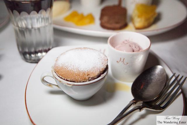The raspberry souffle and raspberry ice cream