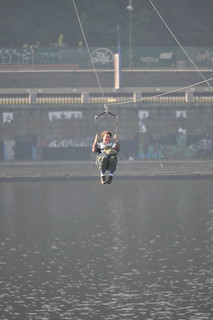 Zip-lining in Kyiv over the Dnipro River