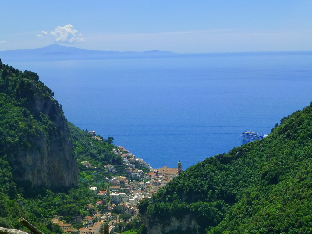Amalfi is far below