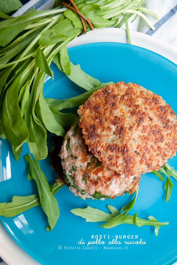 Rosti-Burger di pollo alla rucola