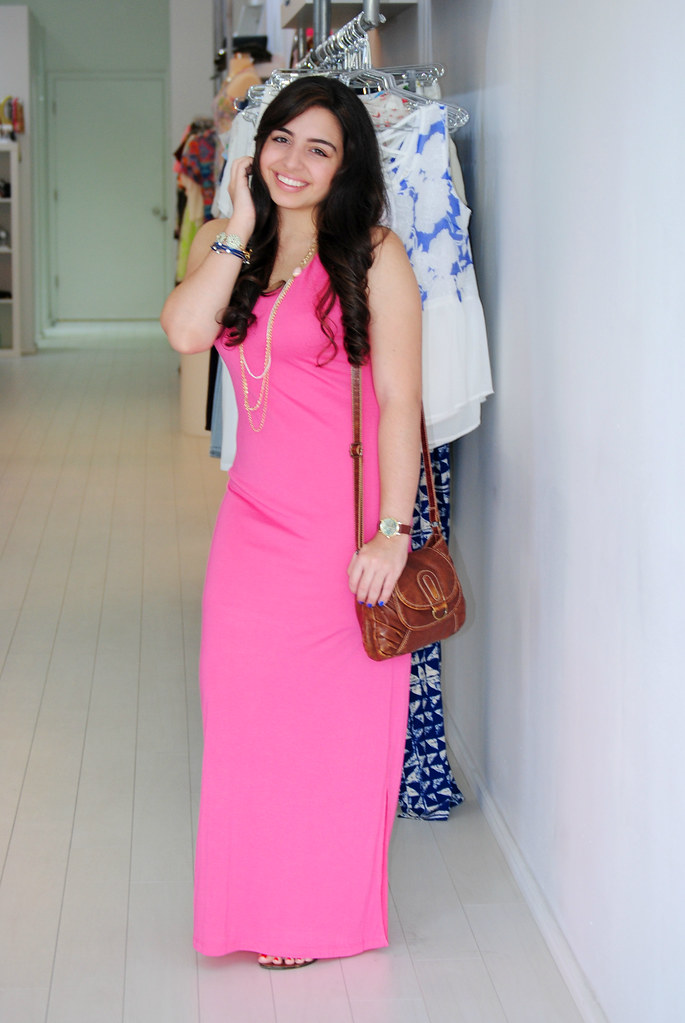 Miami hot pink maxi dress