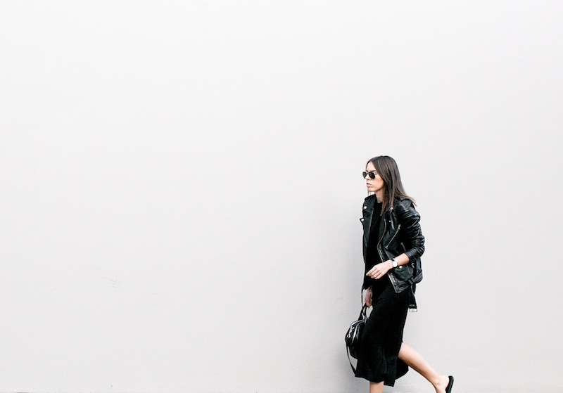 modern legacy fashion blog street style ASOS sale Just Female jersey maxi dress BLK DNM leather moto biker Jacket 8 Common Projects slide sandals Alexander Wang chain tote bag all black (3 of 5)