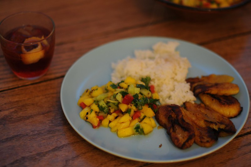 mango salsa, sticky rice, fried plantain