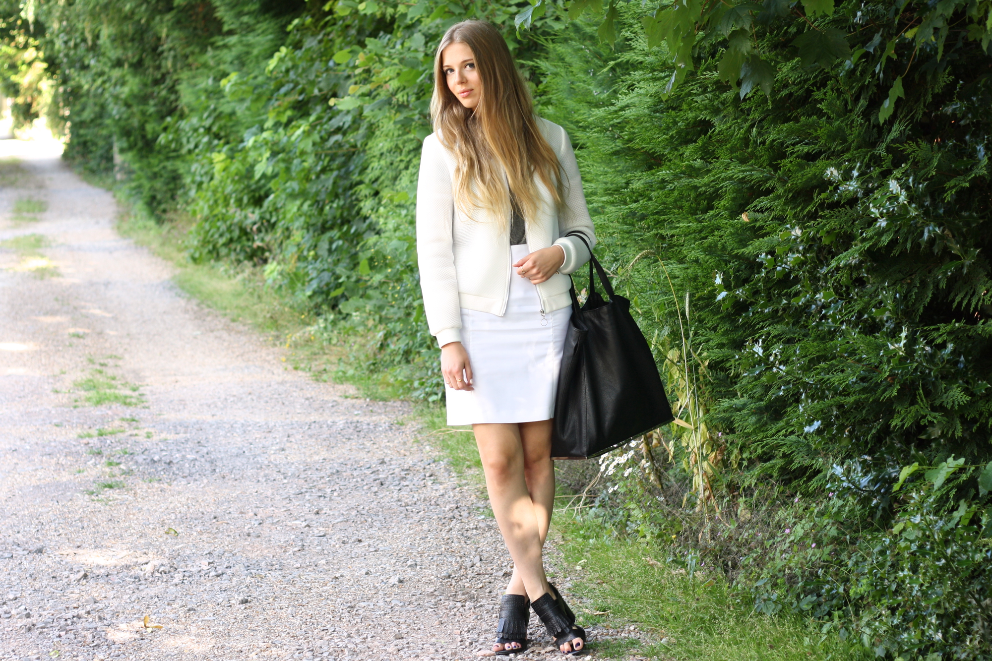 Topshop white pencil skirt