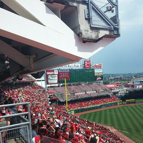 Watching the #WorldCup2014 final @Reds #GABP with @genmae5 #RainDelay...