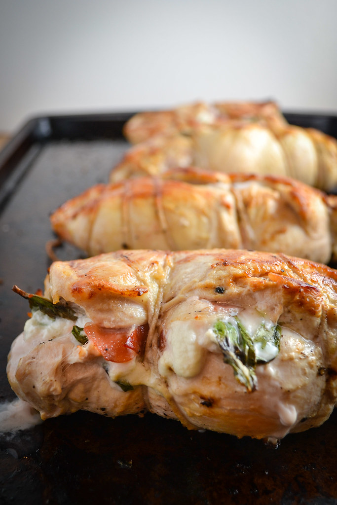 Prosciutto Goat Cheese And Basil Stuffed Chicken With