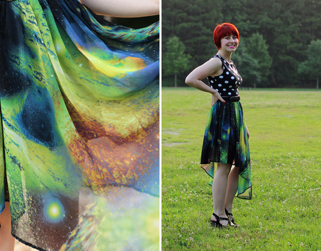 Asymmetrical Galaxy Print Skirt and a Polka Dot Crop Top