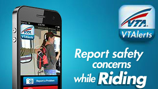 "Advertising graphic shows a screenshot of the VTAlerts mobile app and the words ""report safety concerns while riding"", as well as the VTAlerts logo"