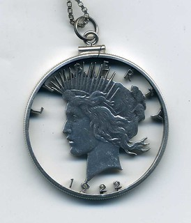 Cut-out 1922 Peace Dollar obverse