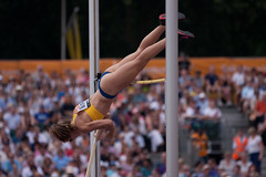 high jump(0.0), uneven bars(0.0), rings(0.0), physical exercise(0.0), athletics(1.0), track and field athletics(1.0), sports(1.0), pole vault(1.0), gymnast(1.0), heptathlon(1.0), athlete(1.0),