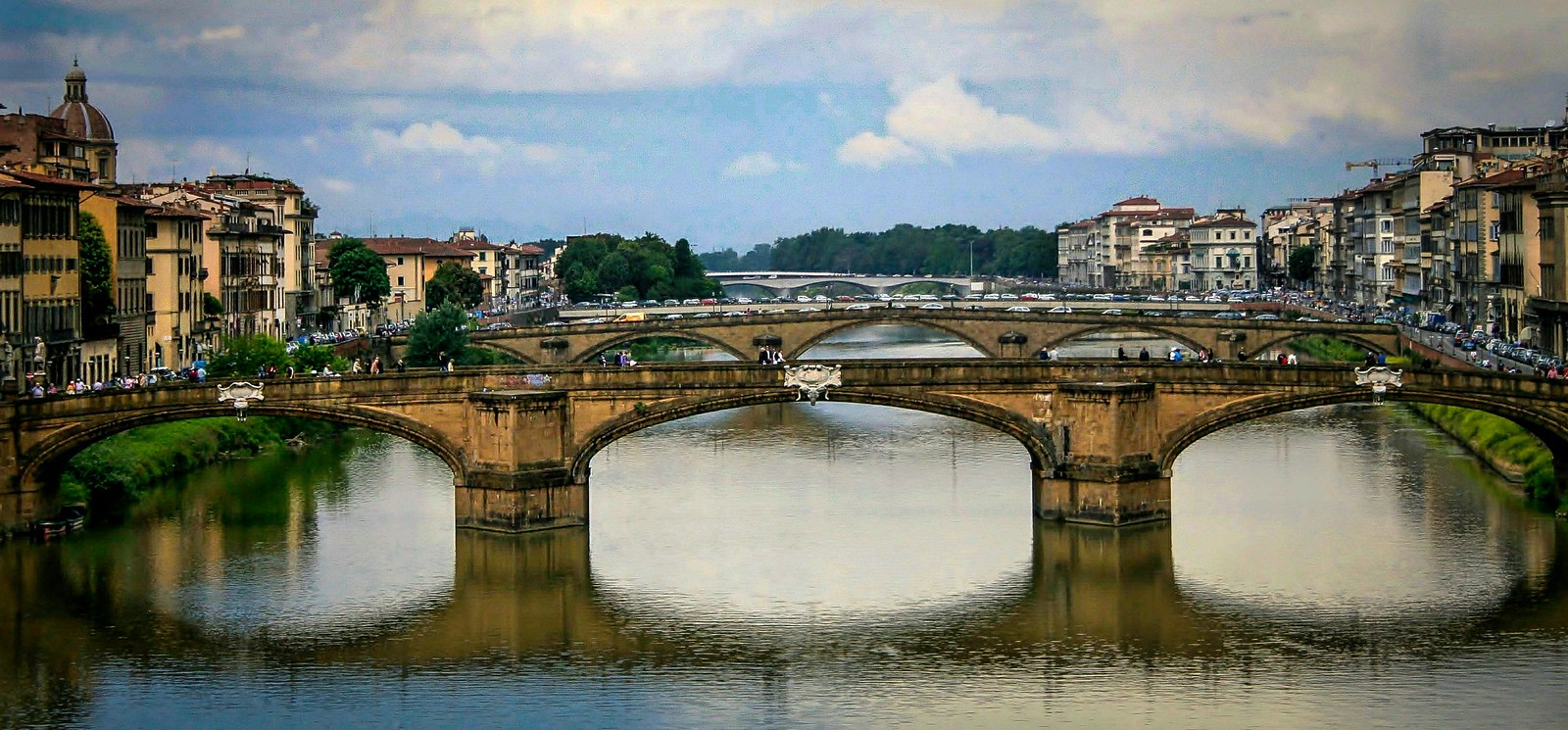 View Northwest of the Ponte Vecchio from the Vasari Corridor