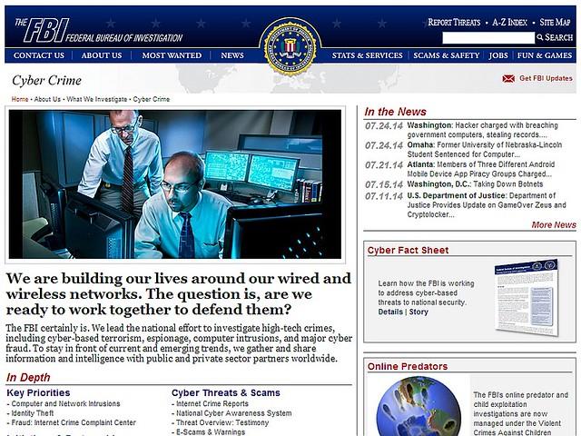 FBI Cyber Crime webpage