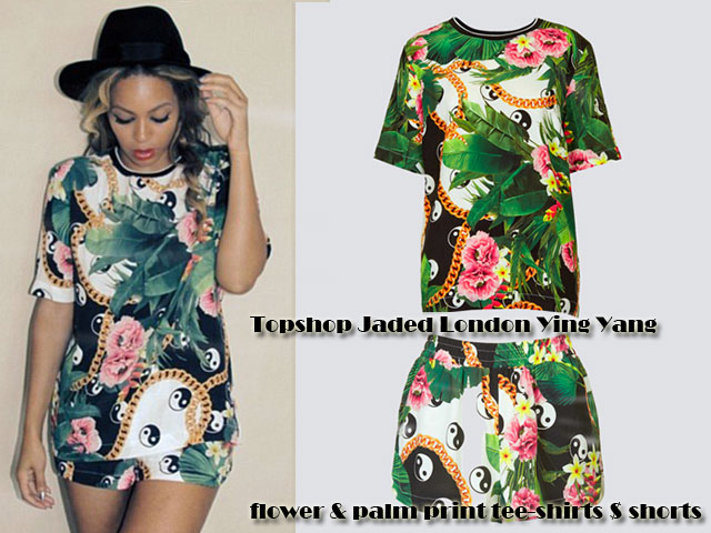 Jaded-London-Ying-Yang-flower-and-palm-print-tee-shirts,Tropical print trend, palm print t-shirt, palm print shorts, palm print, tropical print, ying yang woven shorts by jaded London, T-shirt featuring floral motifs, yin and yang symbols, ying yang trend, ying yang  shorts, ying yang  top, ying yang  blouse
