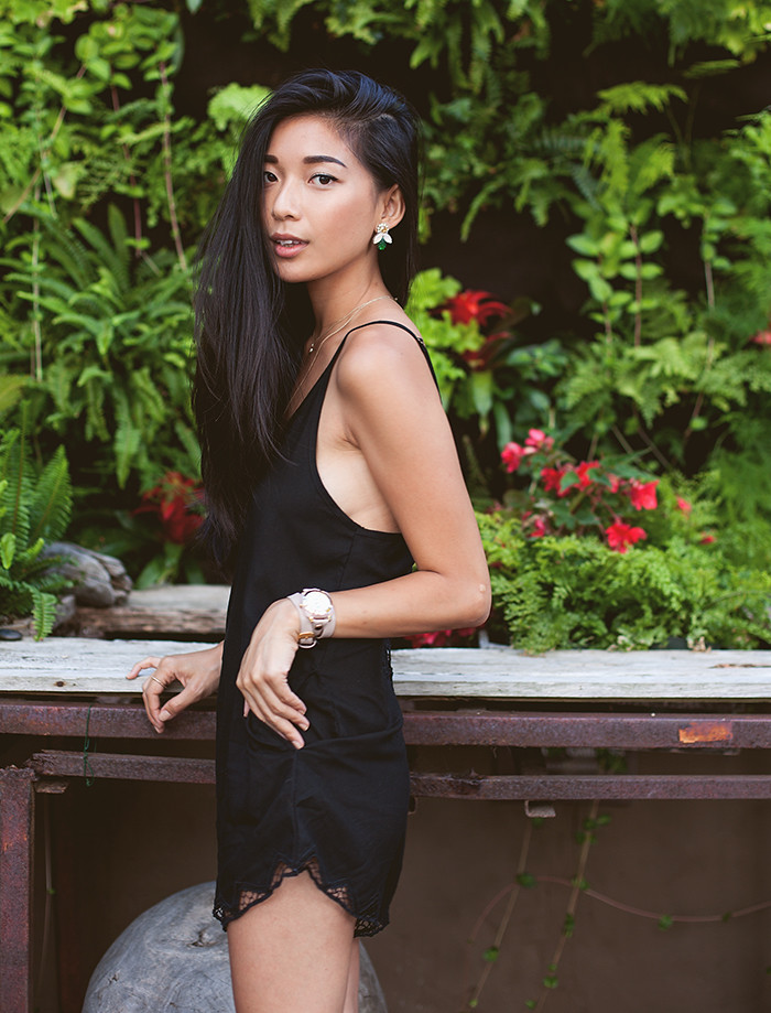Stephanie Liu of Honey & Silk wearing Cleobella, Doloris Petunia, and JustFab