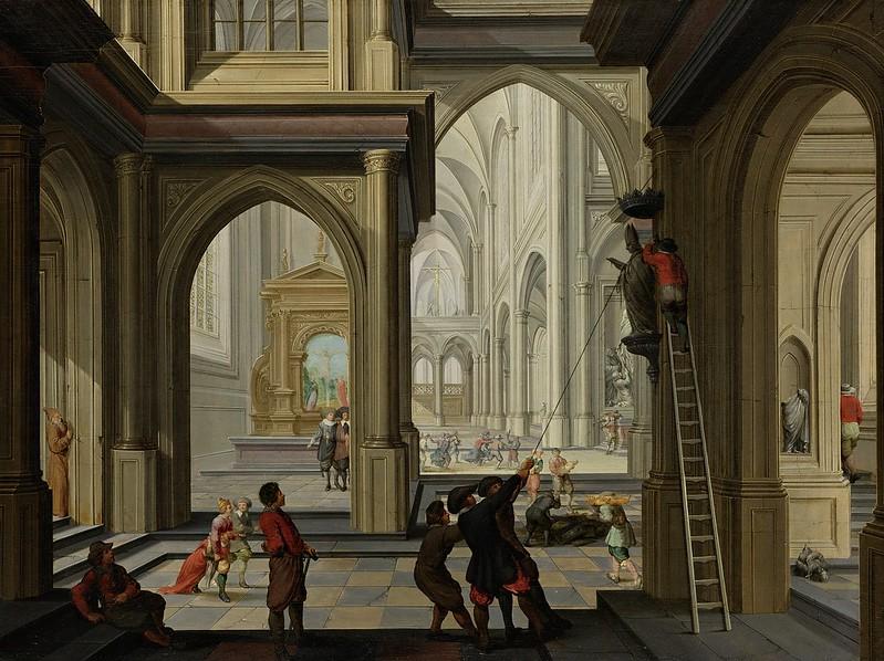 Dirck van Delen - Beeldenstorm in een kerk (1630)