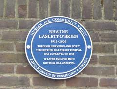 Photo of Rhaune Laslett-O'Brien blue plaque